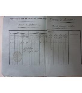 PROVINCIA DI PRINCIPATO CITERIORE Distretto di Salerno SPECCHIO DE' NATI, DE' MORTI E DE' MATRIMONI Comune di Fisciano Mese di Gennaio 1856