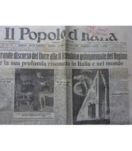 IL POPOLO D' ITALIA Fondatore BENITO MUSSOLINI Anno XXI n.° 67 Martedì 20 Marzo 1934 Anno XII  IL GRANDE DISCORSO DEL DUCE ALL'ASSEMBLEA QUINQUENNALE DEL REGIME